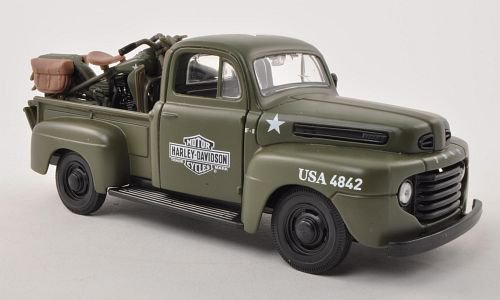 Ford + Harley Davidson 2er-Set: F-1 Pick Up + WLA Flathead 1:24, Maisto